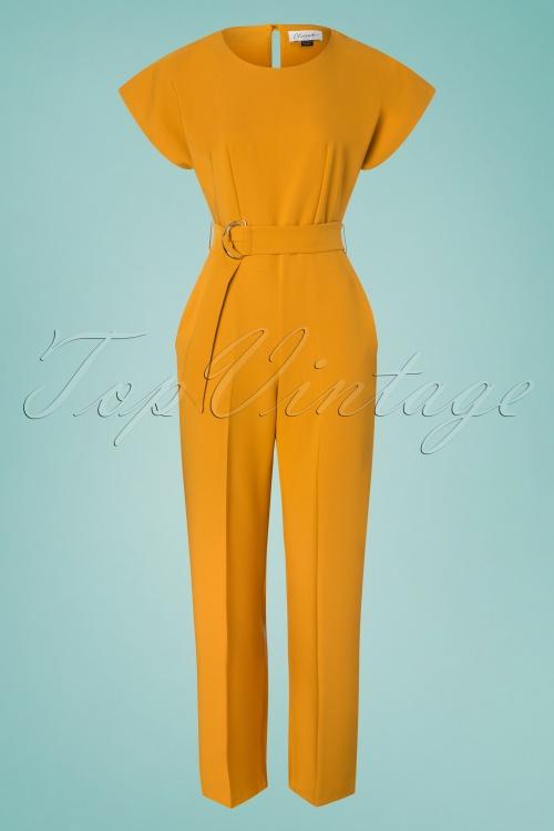 Closet 29030 Mustard Short Sleeve Kimono Jumpsuit 20190110 003W