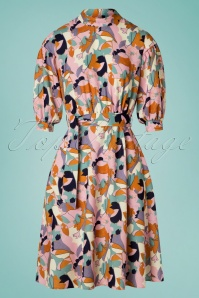 Closet London Lynda Leaf Dress Années 60 en Rose
