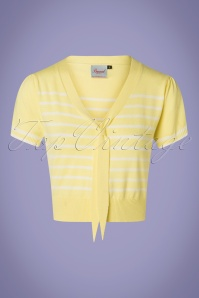 50s Sailor Stripe Tie Top in Pastel Yellow