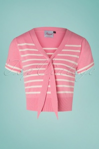 50s Sailor Stripe Tie Top in Baby Pink