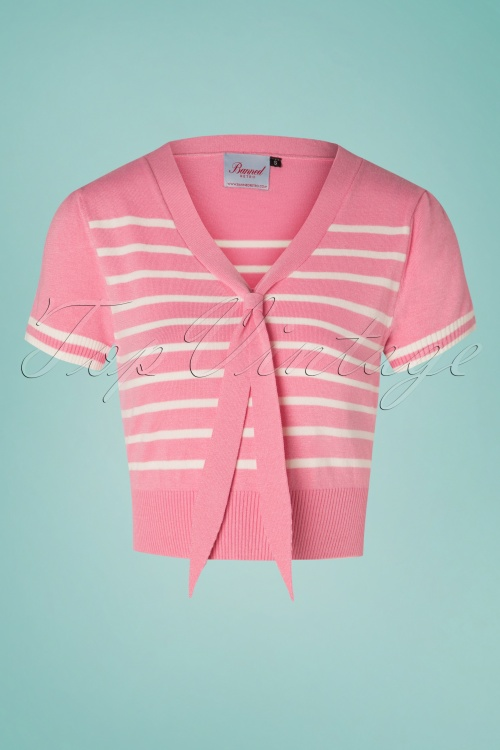 Banned 28470 Sailor Stripe Tie Top Pink 20181213 02W