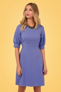 Closet London 60s Vickie Puffed Sleeve Dress in Lilac