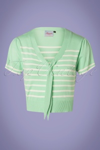 50s Sailor Stripe Tie Top in Mint