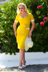 Doris Pencil Dress Années 50 en Jaune