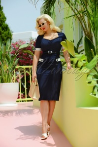 50s Doris Pencil Dress in Navy