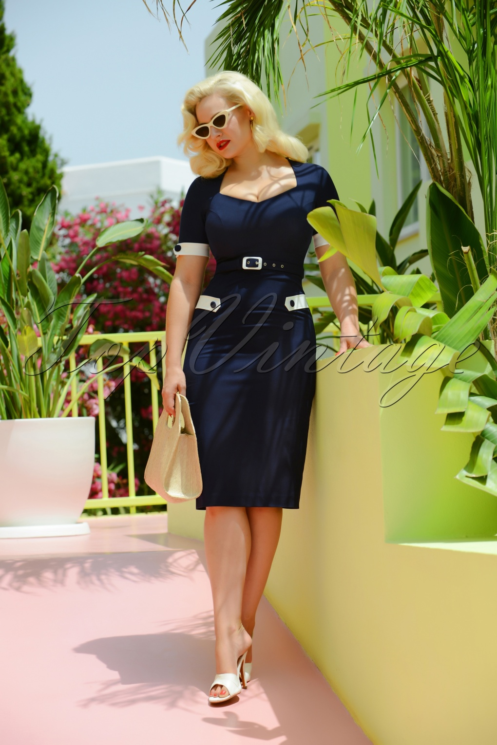 Vintage Sailor Clothes, Nautical Theme Clothing 50s Doris Pencil Dress in Navy £102.61 AT vintagedancer.com