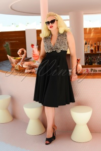 50s Rizzo Swing Dress in Leopard and Black
