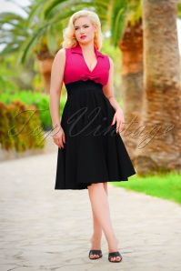50s Rizzo Swing Dress in Hot Pink and Black