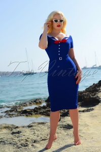 50s Audrey Pencil Dress in Royal Blue
