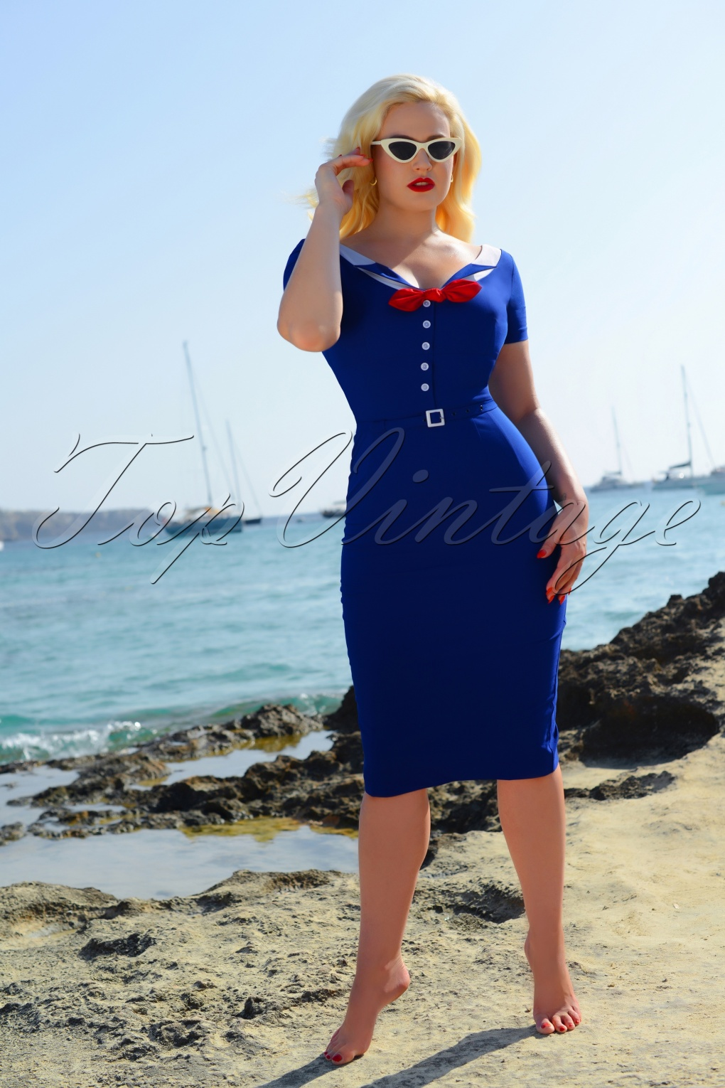 1940s Dresses | 40s Dress, Swing Dress 50s Audrey Pencil Dress in Royal Blue £110.33 AT vintagedancer.com