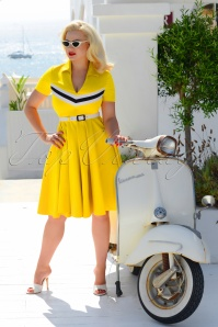 Glamour Bunny 60s June Swing Dress in Mustard