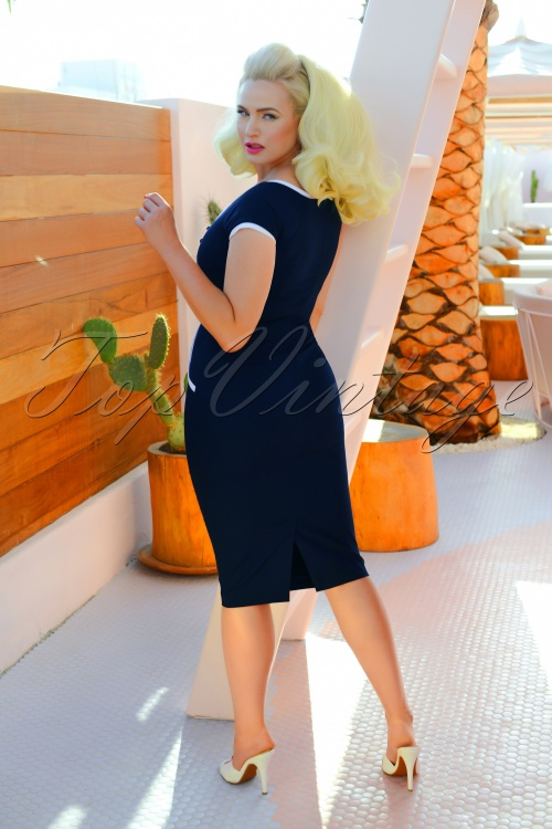 dita pencil dress ann es 50 en bleu marine. Black Bedroom Furniture Sets. Home Design Ideas