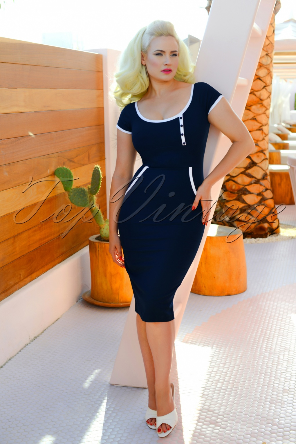 Vintage Sailor Clothes, Nautical Theme Clothing 50s Dita Pencil Dress in Navy £98.14 AT vintagedancer.com