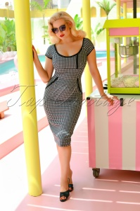 50s Dita Pencil Dress in Gingham