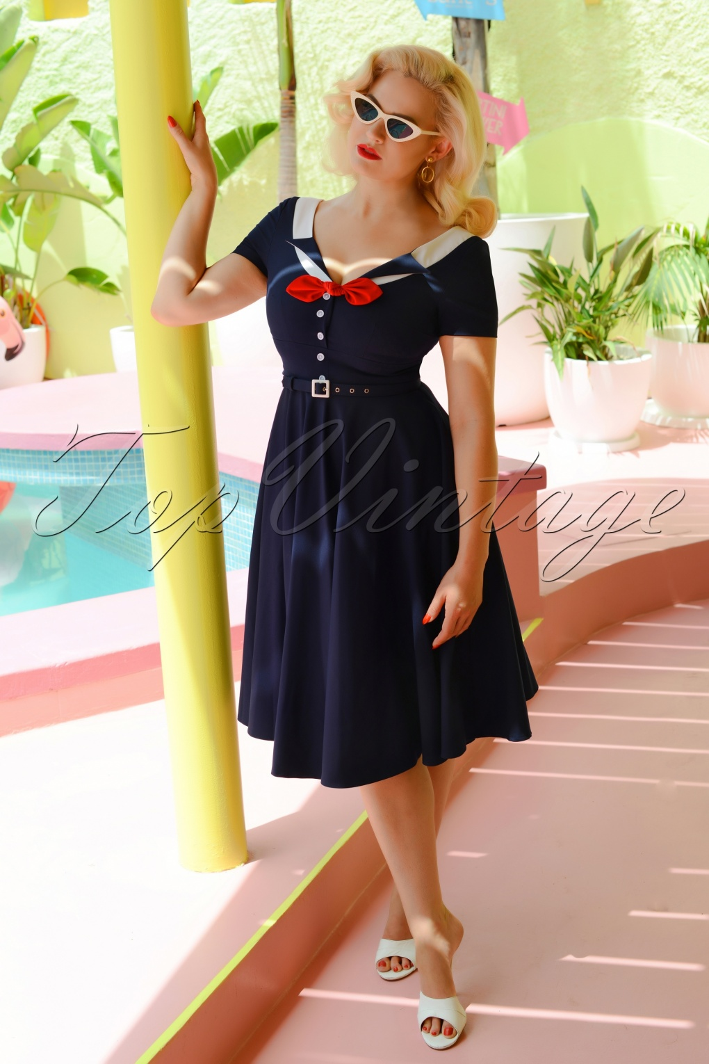 1950s Housewife Dress | 50s Day Dresses 50s Audrey Swing Dress in Navy £108.97 AT vintagedancer.com