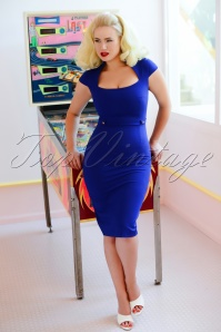 50s Roxy Pencil Dress in Royal Blue