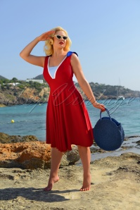 50s Gerry Sailor Swing Dress in Red