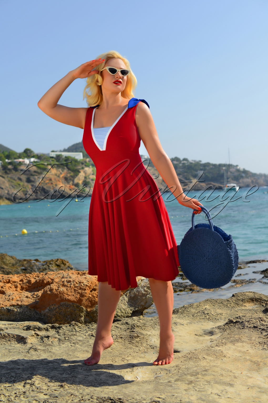 Sailor Dresses, Nautical Theme Dress, WW2 Dresses 50s Gerry Sailor Swing Dress in Red £124.92 AT vintagedancer.com