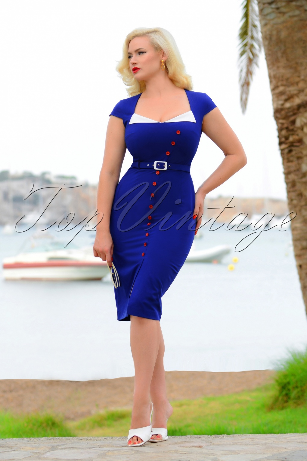 Sailor Dresses, Nautical Theme Dress, WW2 Dresses 50s Valerie Pencil Dress in Royal Blue £102.61 AT vintagedancer.com