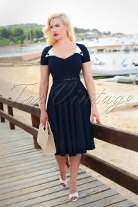 Jane Swing Dress Années 50 en Bleu Marine