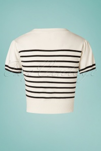 Banned 28464 Sailor Stripe Tie Top Off White 20181219 004W1