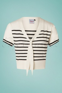 50s Sailor Stripe Tie Top in Off White