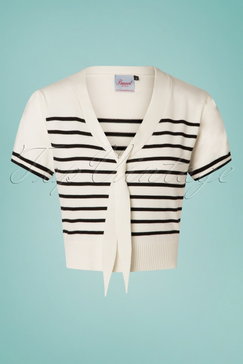 Banned 28464 Sailor Stripe Tie Top Off White 20181219 001W