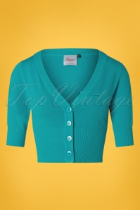 50s Overload Cardigan in Teal Blue