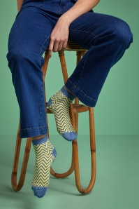 King Louie Ponza Socks Années 60 en Jaune Cresson