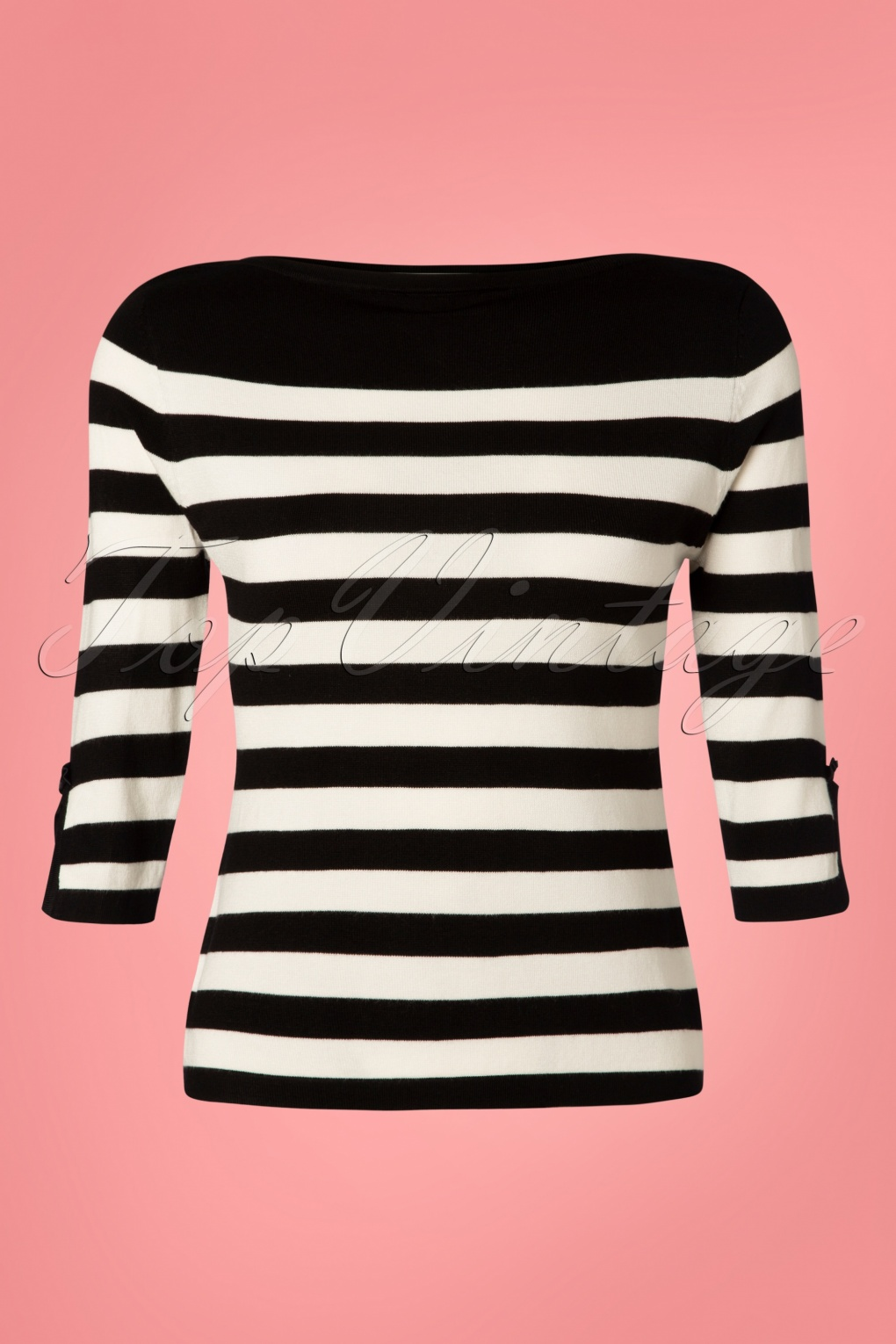 Authentic Natural 1950s Makeup History and Tutorial 50s Sail Away Stripes Jumper in Black £32.98 AT vintagedancer.com