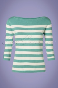 50s Sail Away Stripes Jumper in Duck Egg