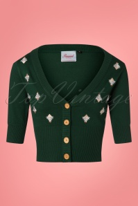 50s Deco Cardigan in Dark Green