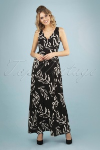 60s Palm Maxi Dress in Black and White