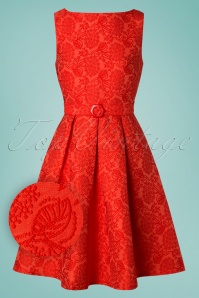 60s Florida Jacquard Dress in Coral Red
