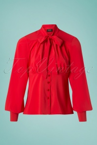 Steady Clothing 50s Harlow Tie Blouse in Red