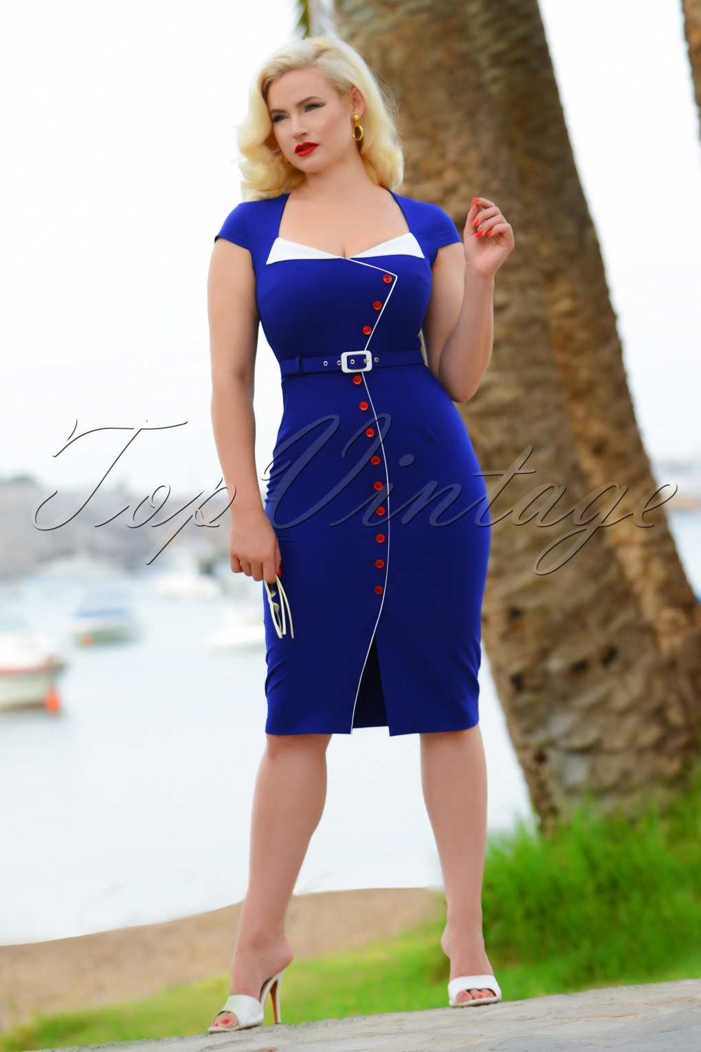 Sailor Dresses, Nautical Theme Dress, WW2 Dresses 50s Valerie Pencil Dress in Royal Blue £101.83 AT vintagedancer.com