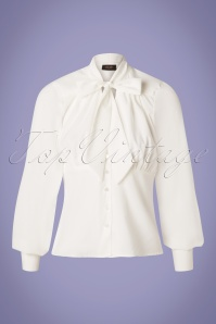 Steady Clothing 50s Harlow Tie Blouse in Ivory