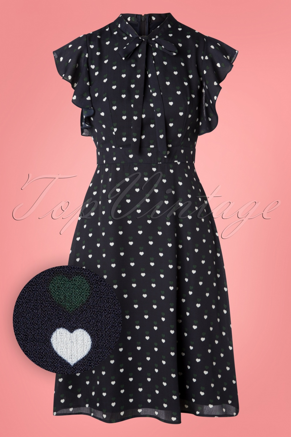 1930s Dresses | 30s Art Deco Dress Florrie Heart Dots Dress in Navy £55.33 AT vintagedancer.com