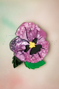 Erstwilder On Sleeping Eyelids Pansy Brooch Années 60