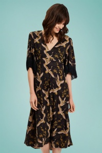 70s Rosie After The Rain Dress in Black
