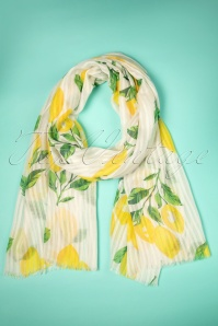 Amici 50s Gloria Lemon Scarf in White