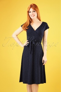 60s Mira Little Dots Dress in Nuit Blue