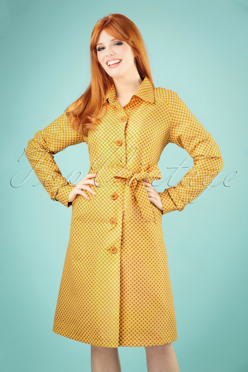 1960s Style Dresses, Clothing, Shoes UK 60s Lizzy Vichy Trenchcoat in Sunset Yellow £123.58 AT vintagedancer.com