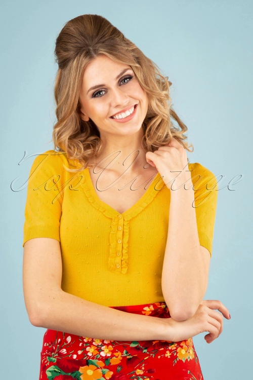 King Louie 27131 Mimosa Yellow Ruffle V Neck Top Droplet 20181121 0100W