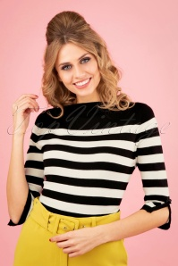 50s Sail Away Stripes Jumper in Black