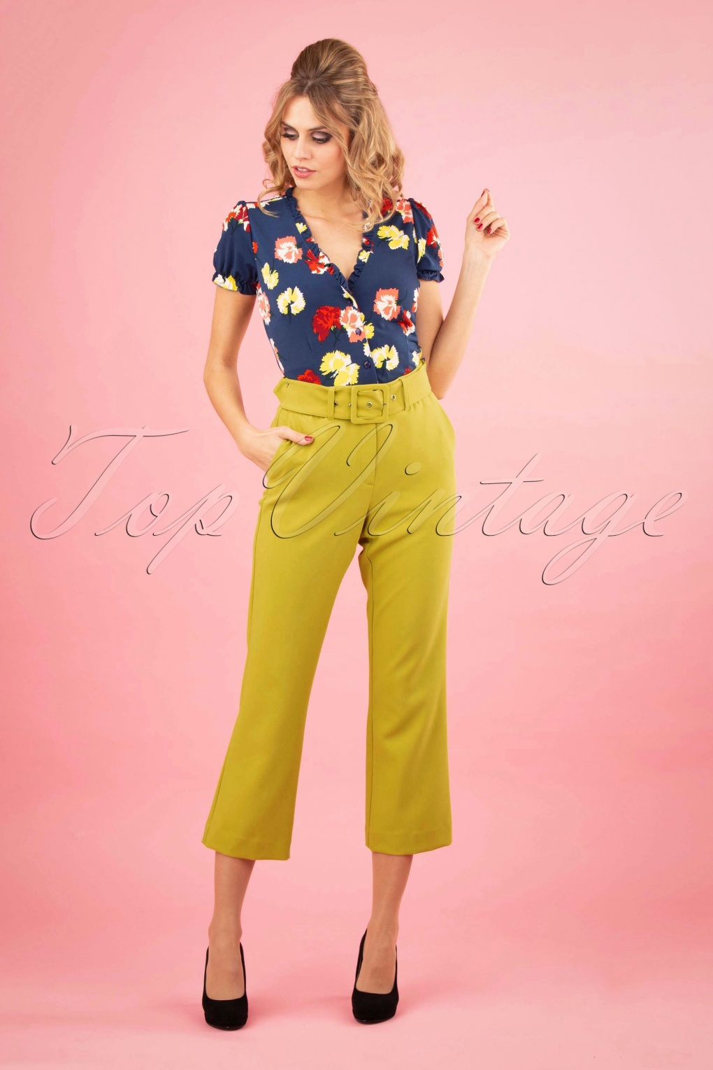 1960s Style Dresses, Clothing, Shoes UK 60s Jenny Tribeca Pants in Cress Yellow £83.84 AT vintagedancer.com