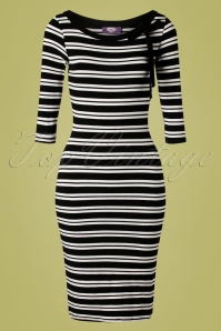 TopVintage Boutique Collection Janice Stripes Pencil Dress Années 50 en Noir et Blanc