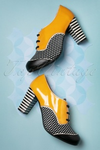60s Listas Patent Leather Booties in Mustard and Black