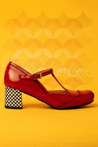 Rojo Patent Leather T-Strap Pumps Années 60 en Rouge