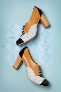60s Madison Leather Booties in Camel and Cream
